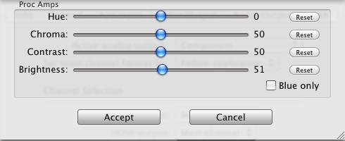 Controles de calibración de color en la salida HDMI de la Matrox MXO2 Mini
