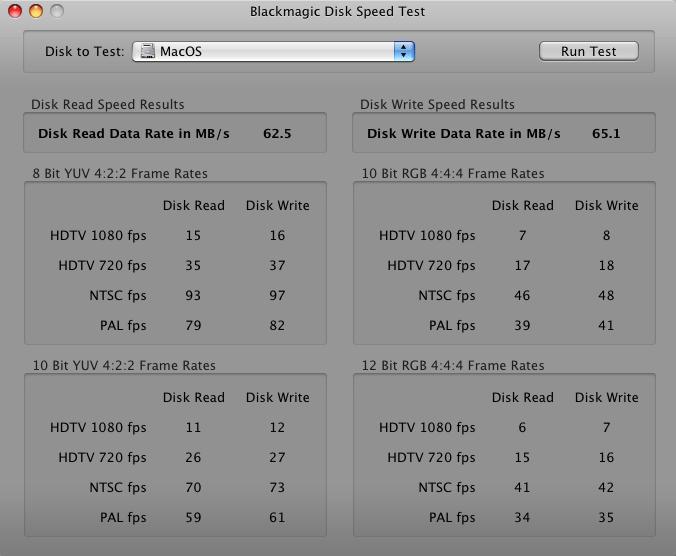 Herramienta de Blackmagic Design para el análisis de la velocidad de los discos duros