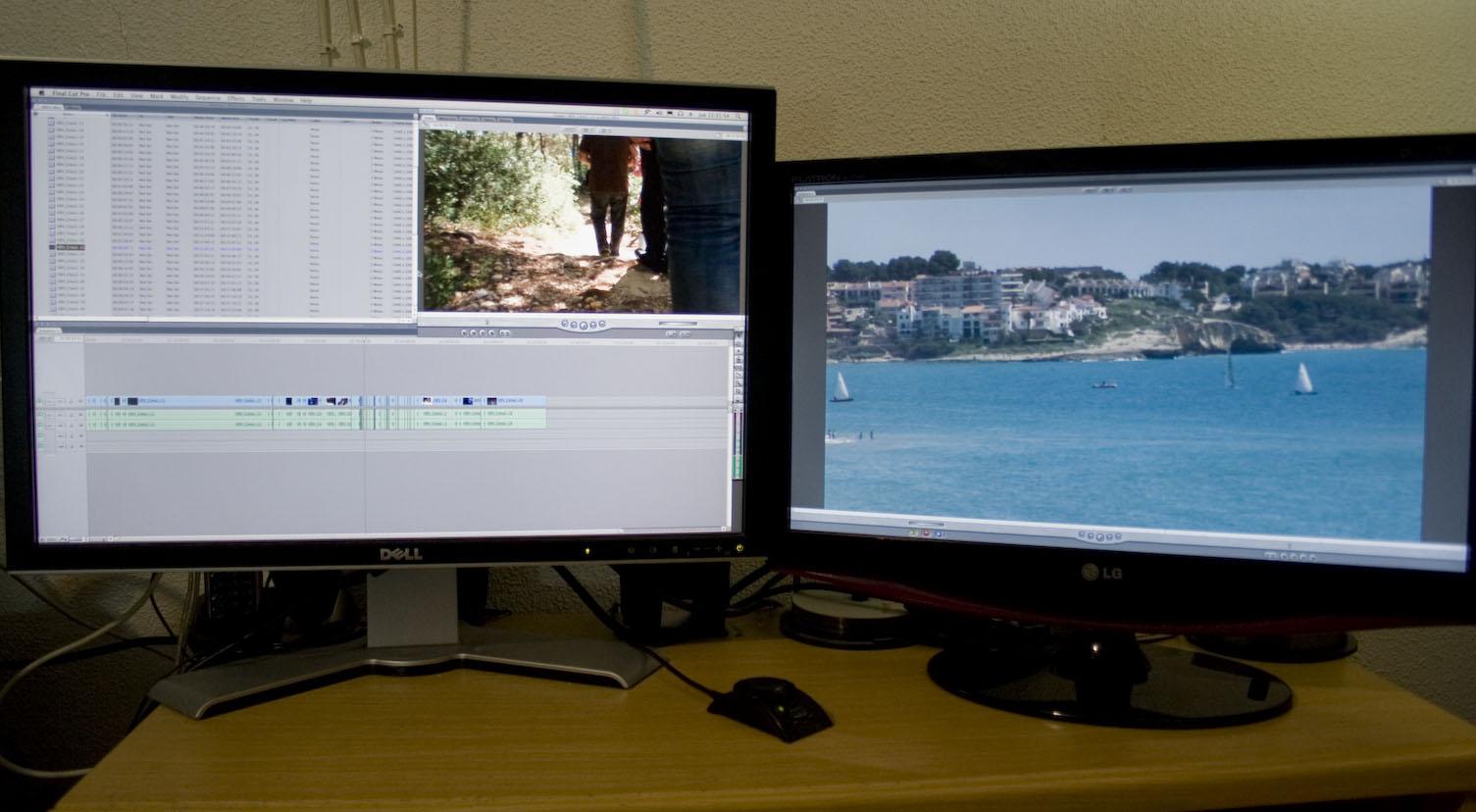 Editando en dos monitores conectados a la gráfica principal mediante las salidas DVI /HDMI de ésta