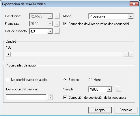 Configuración del codec MXV