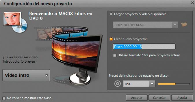 Pantalla de Bienvenida en Films en DVD 8