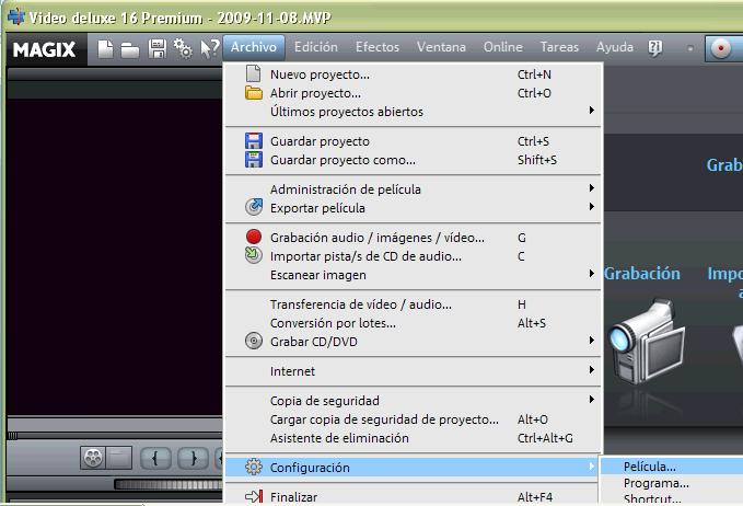 Configuración proyecto Magix Video Deluxe 16