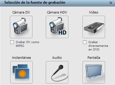 Seleccionar fuente de grabación en Magix Video Deluxe 16