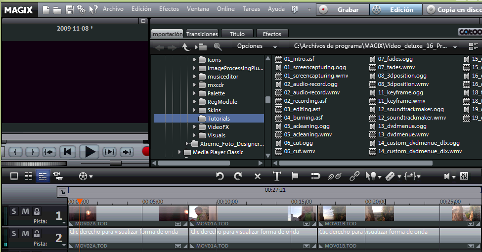Interfaz de edicion en Magix Video Deluxe 16
