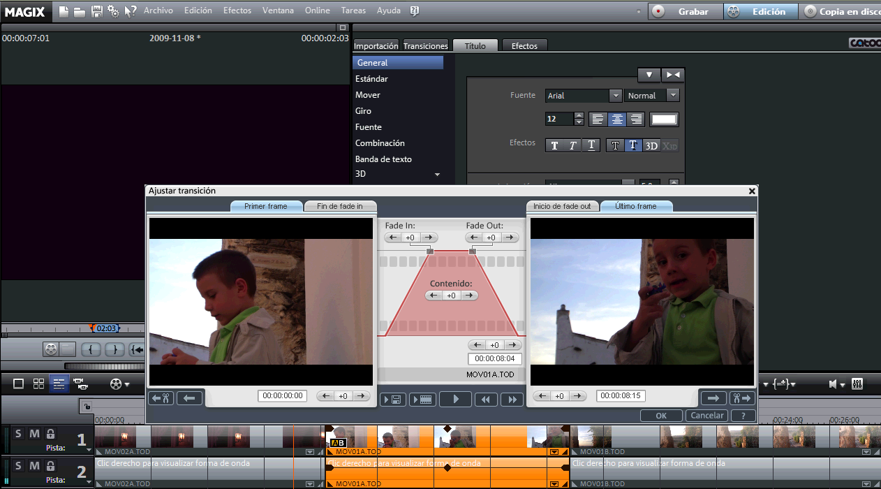 Ventana efectos FX en Magix Video Deluxe 16