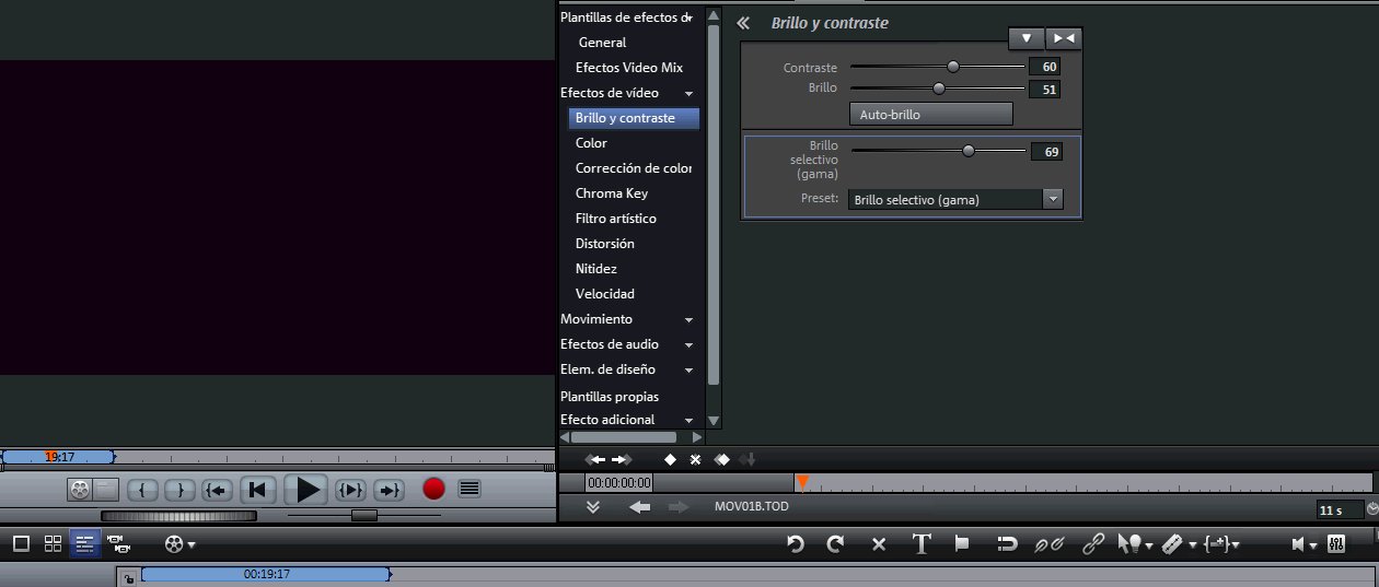 Opciones de brillo y contraste (entre otras) en Magix Video Deluxe 16