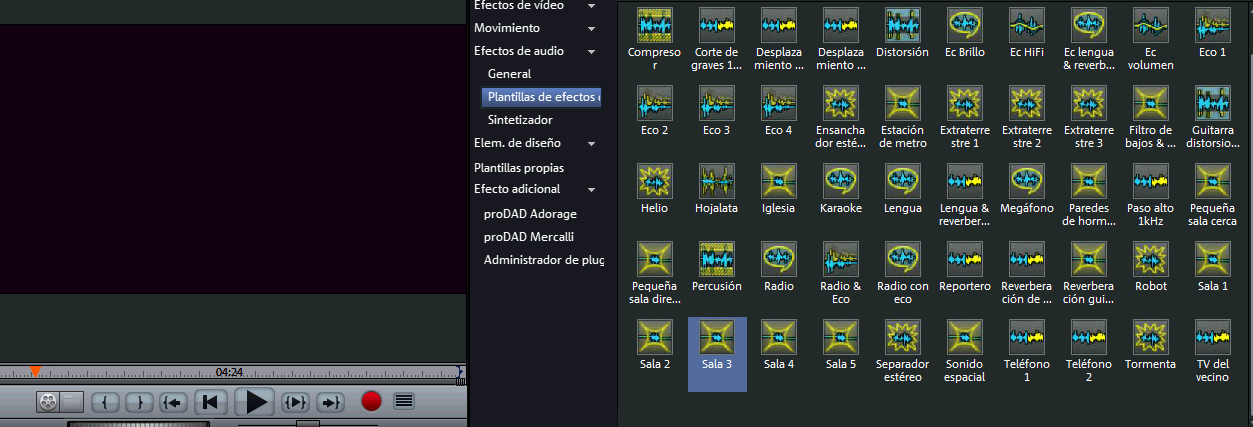 Interfaz de audio en Magix Video Deluxe 16