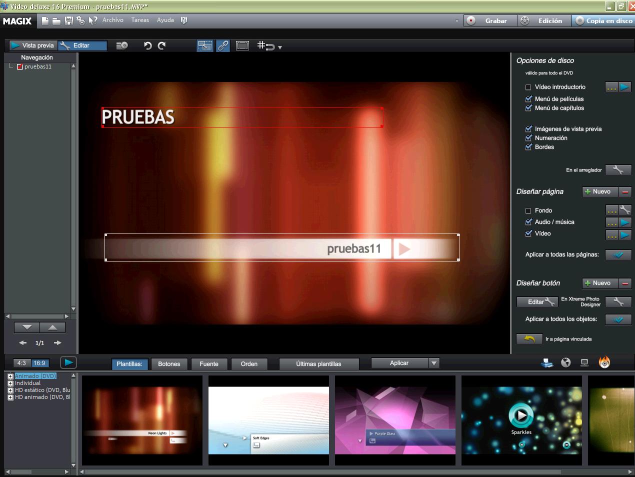 Creación de Discos con Magix Video Deluxe 16 (Pincha en la imagen para ampliar)