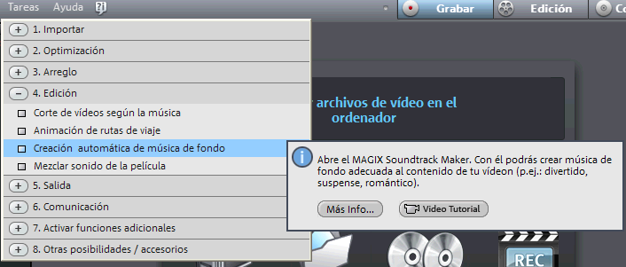Ayuda interactiva en Magix Video Deluxe 16
