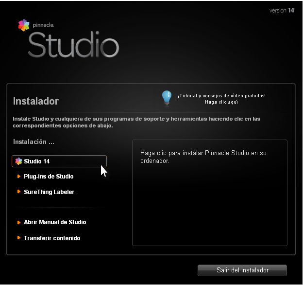 Instalador Pinnacle Studio 14