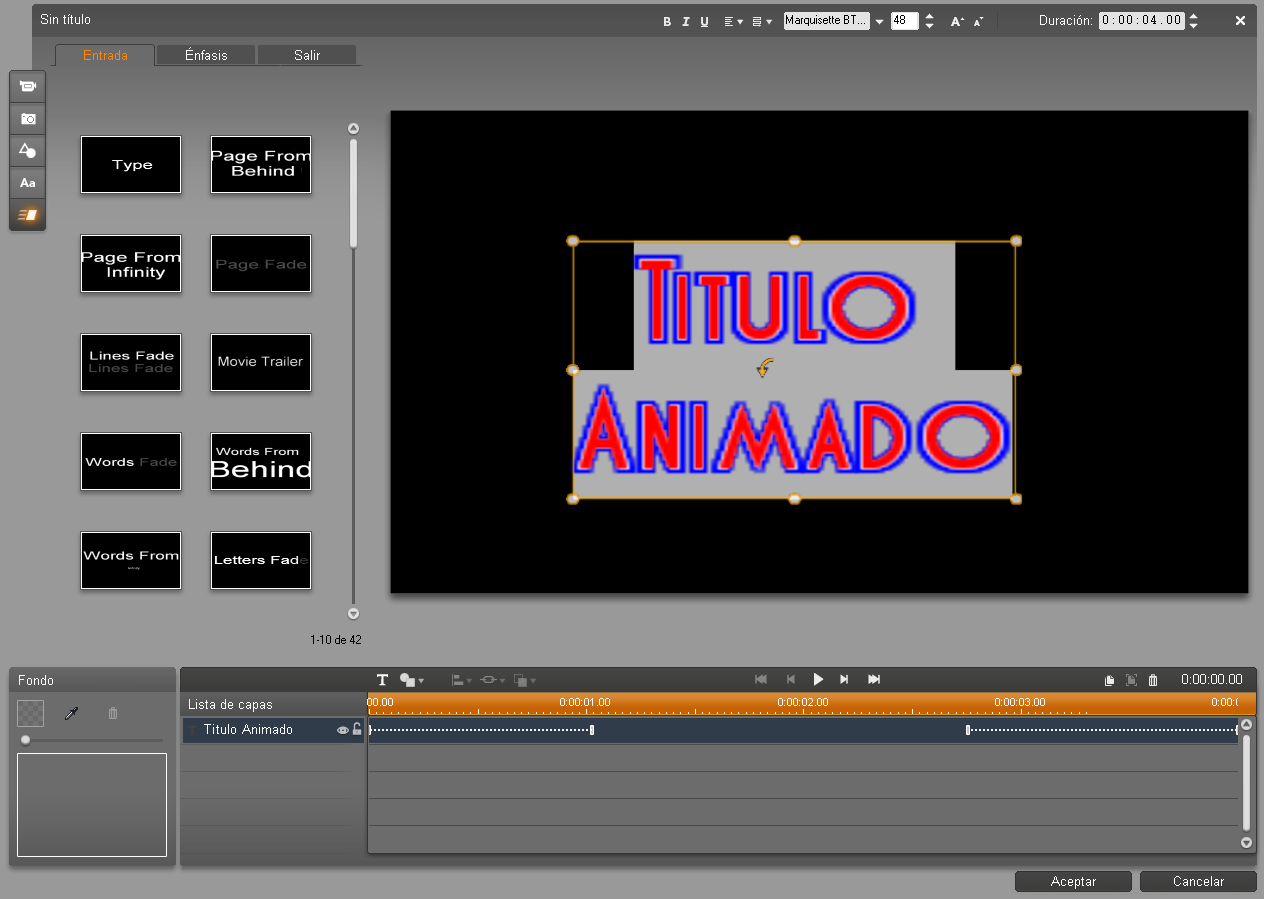 Animaciones en el titulador de Pinnacle Studio 14